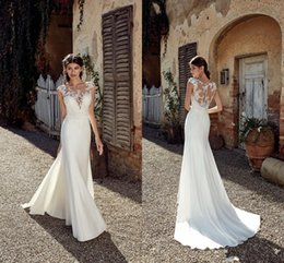 Plus Size New Designer Praia Mermaid Wedding Dresses Lace Applique Sheer Neck até o chão Bohemian longo Cheap casamento vestem vestidos de noiva
