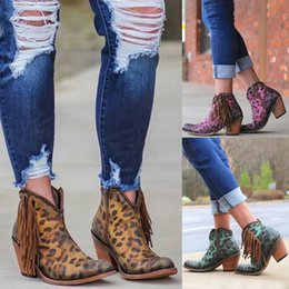 side zip shoes NZ - 2019 New Women Leopard Printed Boots Tassel Zip Side Booties Ankle Short Shoes Womens High Heel Pointed Toe Zapatos Botas Mujer