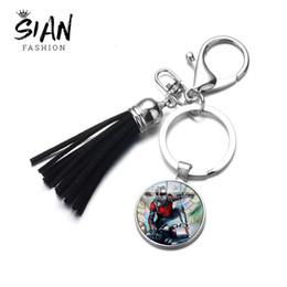$enCountryForm.capitalKeyWord Australia - SIAN Film Ant-Man Keychain Marvel Antman Figure Glass Dome Pendant Car Key Chain Leather Tassel Key Ring for Men Kids