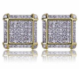 $enCountryForm.capitalKeyWord Australia - MENS HIP HOP 14K YELLOW GOLD PLATED LAB DIAMOND SCREW BACK STUD EARRINGS