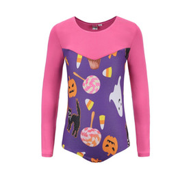 Body Suit Pattern NZ - Long-sleeved Pumpkin Head Pattern Body Suit Ballet Gymnastics Dance Practice Clothes Carnival Stage Performance