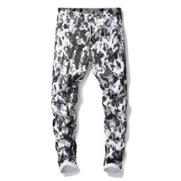 European Style Pants For Men Australia - European and American Mens Spotted Jeans high Quality White Black Color Printing Slim Fit Fashion Robin Jeans For Men Nightclub Pants Plus