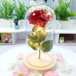 red rose night lights Canada - Real Touch Rose Glass Cover Lamp Artificial Gold Leaf Flower Eternal Flower Night Light Christmas Valentine's Day Gift Rose Gift