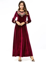 Wine Red Velvet long Dress Embroidered Flowers Maxi Dresses Women Casual  Vintage A line Dress Muslim Arab Robe Plus Size 4XL 2b34f1e4c576