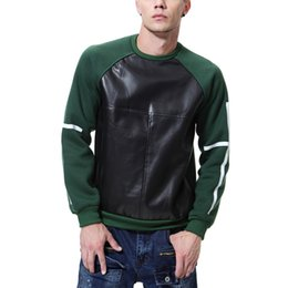 $enCountryForm.capitalKeyWord UK - Mens PU Faux Leather Panelled Casual Pullover Autumn Winter Crew Neck Long Sleeve Tops Male Hip Hop Sweatshirts