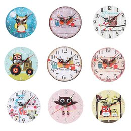 Wholesale Owl Series European Bracket Clock Creative Vintage No Frame Round Clock For Living Room Bedroom Office Bar Restaurant Wall Decor