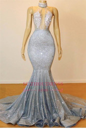 b804e45c9992 Champagne gold Crystal beads online shopping - Silver Mermaid Prom Dresses  Long Sequined Bling Bling Jewel