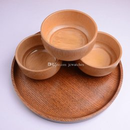 Bamboo Bowls Kitchen Australia - Natural Bamboo Rice Soup Bowl Food Containter Kitchen Utensil Tableware Wholesale