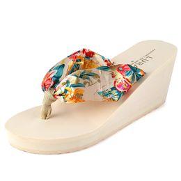 $enCountryForm.capitalKeyWord Australia - Hot style Bohemian silk Flip Flops Summer Shoes Wedge heel thick soled, non slip, high heeled beach slippers for Ladies Women Girls Sweet St