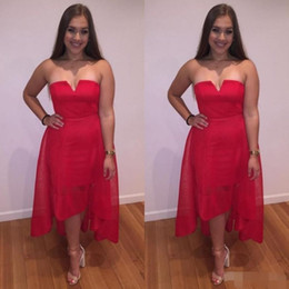 $enCountryForm.capitalKeyWord Australia - 2019 Red Homecoming Dresses Strapless V Neck High Low Tulle Prom Gowns A Line Cocktail Party Formal Wear Custom Made