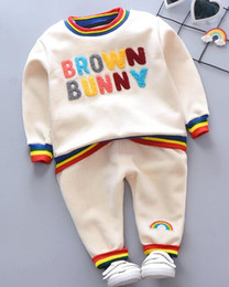 4t rainbow tutu Australia - 2019 New Best-selling Winter Children's Clothes Baby Rainbow Letter Towel Embroidery and Fleece Two Kids Suit Factory Direct Selling