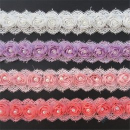 Pearl Trim Yard NZ - 1 Yard 3D Chiffon Colorful Flower Lace Trim Ribbon Pearl 4.5 cm Width Edging Trimmings Fabric Embroidered Applique Sewing Craft Dress DIY