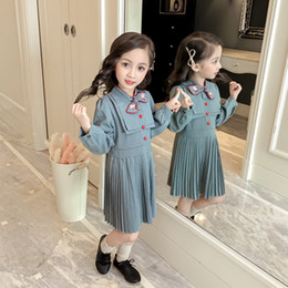 bohemian style clothing for children Australia - Girls Dress Autumn England Style Princess Dress Children Clothing Striped Bow Design for Girls Clothes 2-6Y blue