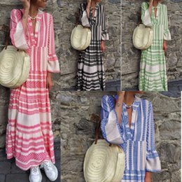 long sleeve maxi dresses Australia - Striped Maxi Dresses for Summer Vacation Women Fashion V Neck Cotton Linen Dress 4 Colors Long Beach Party Dresses