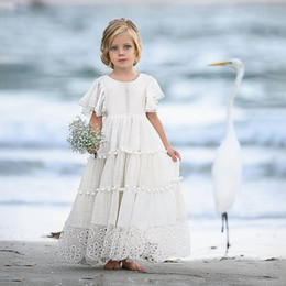 flower girls short lace dresses Canada - Lovely Cheap Lace Bohemia Flower Girl Dresses For Beach Wedding Pageant Gowns A Line Short Sleeves Chiffon Boho Kids Communion Dress
