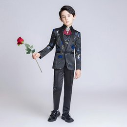 slim jackets for boys Australia - YuanLu Kids Suit For Boy Children Blazer Jacket Formal Coat For Wedding Party Piano Embroidery Flower Slim Fit set Classic Black