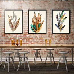 Canvas Prints For Living Room Australia - HAOCHU Color Feather Poster For Living Room Home Decor Painting Print Poster Simple Nordic Wall Picture Canvas Painting