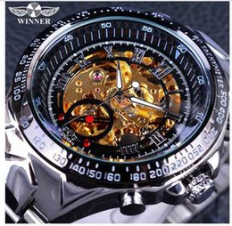 golden color watches Canada - Winner New Number Sport Design Bezel Golden Watch Mens Watches Top Montre Homme Clock Men Automatic Skeleton Watch