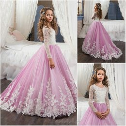 $enCountryForm.capitalKeyWord Australia - Hot Sale Charming Long Sleeve Flower Girls Dresses Lace Jewel Neck Applique Bow Belt Pleated Purple Kids Party Gowns