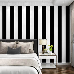 black white living room decor NZ - modern minimalist Black and white block stripes wallpaper living room bedroom coffee restaurant clothing store background wall decor