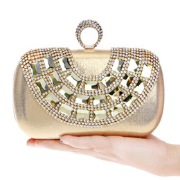 finger silver clutch bag Australia - Designer-Acrylic Accessory Rhinestones U design evening bags finger ring crystal evening bags for wedding party dinner handbags clutches