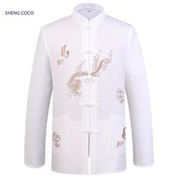 China Sheng Coco Male Chinese Clothing Tops Traditional Chinese Dragon Shirt Long Sleeve Taiji Clothing Martial Arts Wing Chun Store cheap taiji clothing suppliers