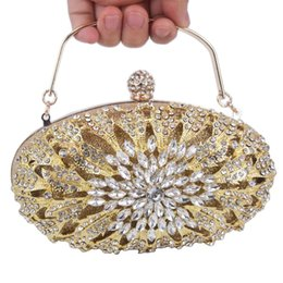oval evening bag Australia - oval Gold Silver Crystal Evening Bags with Chain Luxury Clutch Bags Female Wedding Purse