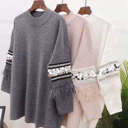 $enCountryForm.capitalKeyWord NZ - vintage black grey pink round neck long sleeve fringed tassels Sequin warm thermal pullovers sweaters knitted jersey jumper tops
