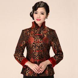 71d8a3825e568 Autumn New Women Satin Jacket Chinese Vintage Formal Clothing Elegant  Flower Coat Long Sleeve Outwear Plus Size 3XL 4XL 2099 D19011501