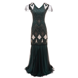 Wholesale flapper dresses resale online - 1920s Great Gatsby Flapper Dress Sheer Long Maxi Formal Party Dress Women Short Sleeve V Neck Vestido Beaded Sequin Long Dress