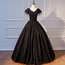 $enCountryForm.capitalKeyWord UK - Black Gothic Wedding Dresses With Short Sleeves A-line Lace-Up Back Beaded lace Appliques Organza V Neck Non White Bridal Gowns With Color