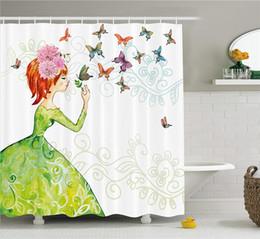 $enCountryForm.capitalKeyWord Canada - DIY Unique Fashion House Decor Shower Curtain A Lady in Green Dress with Leaf Ornamentals Flower Pastel Butterfly Fabric Bathroom Decor Set