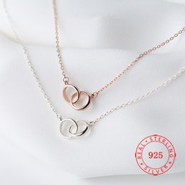 $enCountryForm.capitalKeyWord Canada - s925 Sterling Silver Necklace design jewelry luxury women new york chain fashion wedding party hollow two circle Necklaces