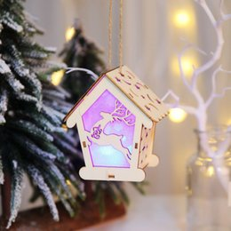 supplies christmas door decorations Australia - Christmas Wooden Hollow Illuminate House Pendant Decoration Creative New Year Festival Party Home Door Hanging Ornament Supplies