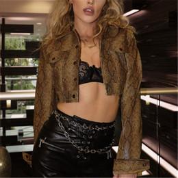$enCountryForm.capitalKeyWord Australia - Leather Lady Snakeskin Sexy Short Jacket Women No Cap Lapel Jacket Fashion Street Style Spring and Autumn Wear Hip-Hop Style