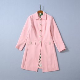 single pan Australia - 2019 Ladies Newest Luxury Pink Solid Color Peter Pan Neck Lily Buttons Knee-Length Long Sleeve Fashion Runway Trench Coats 190905O1421