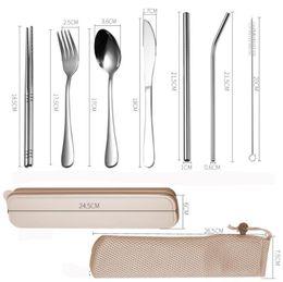 $enCountryForm.capitalKeyWord NZ - DHL 7Pcs Set Stainless steel Cutlery Set with Bag and box Tea spoon Fork Knife chopsticks straw brush Kitchen Flatware Dinnerware Set metal