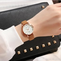pink color watches UK - Fashion women girls wristwatch color Leather strap Roman display white color dial plate glass face quartz watch