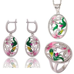 EnamEl pEndant Earrings online shopping - KOFSAC Women Sterling Silver Jewelry Sets New Beautiful Oval Enamel Pink Flower Zircon Hollow Necklace Pendant Earrings Ring