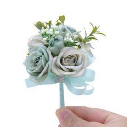 $enCountryForm.capitalKeyWord Australia - Wedding Bride Fake Flower Brooch 6 Colors Bridal Gown Decorative Satin Corsage Reception Royal Ball Tail Coat Brooch 100 Pieces DHL