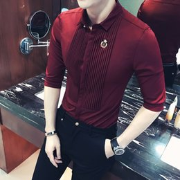 wine sleeves NZ - Short Sleeve Mens Dress Shirts 2018 Summer Fashion Camisa Social Masculina Slim Fit Male Shirt Wine Red White Black CX200619