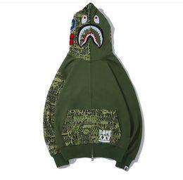 men fleece sleeveless hooded vest 2019 - Man Sportwear Coat Jogger Tracksuit Zipper Fleece Sweatshirt Green Letter Drake Black Hip Hop Hoodie Men Shark Mouth Fre