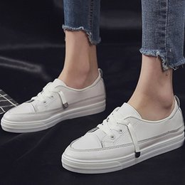 Wholesale Canvas High Shoes Australia - MUQGEW white loafers women shoes Fashion Solid Casual Low Ankle Lace-up Flat sneaker shoes high quality Rome casual sneaker