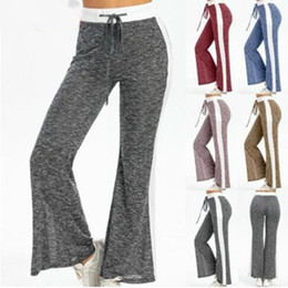 wide leg yoga pants UK - Women Wide Legged Pants Woman Fashion Straight Pants Girl Drawstring Wide Leg Yoga Pants Lady Outdoor Elastic Casual Trousers WY512Q-2