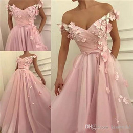 $enCountryForm.capitalKeyWord Australia - New 3D Handmade Flowers Pink Prom Dresses Long Off the Shoulder Pleated Tiered Tulle Floor Length Formal Evening Gowns Cocktail Party Dress