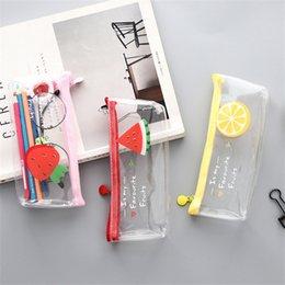 1Pc Girls Cute Fruits Printing Makeup Brushes Pencil Storage Bag Transparent PVC Waterproof Female Cosmetic Bag Muti-functional