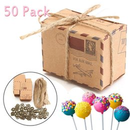 airplane bags NZ - 50pcs Kraft Paper Box Airplane Mail Candy Box Rustic Wedding Favors Shabby Vintage Gift Packing Bags With Length Rope