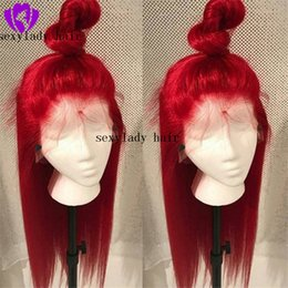 Discount heat resistant long auburn wig - Natural Long Silky Straight Neon Red Color Heat Resistant Synthetic Lace Front Wigs Cosplay Party Makeup Wigs