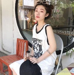 Korean fashion summer long sKirt online shopping - New summer version of the Korean version of the small and fresh letter like the printed loose loose medium long sleeveless skirt girl stu