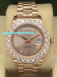 Big Rose Watches Australia - New top quality prong set diamond watch automatic movement big diamond rose gold case Best-selling fashion men's watch